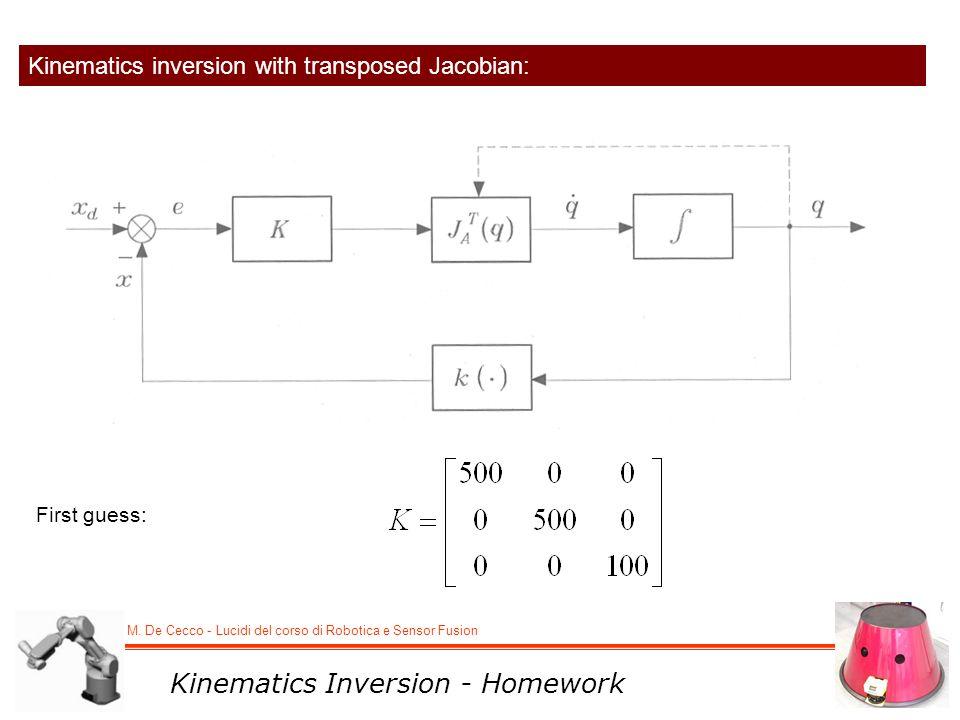 M. De Cecco - Lucidi del corso di Robotica e Sensor Fusion Kinematics inversion with transposed Jacobian: First guess: Kinematics Inversion - Homework