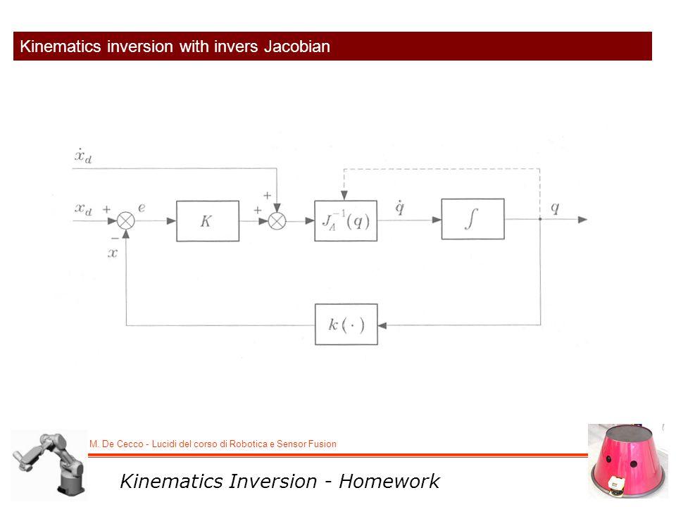 M. De Cecco - Lucidi del corso di Robotica e Sensor Fusion Kinematics inversion with invers Jacobian Kinematics Inversion - Homework