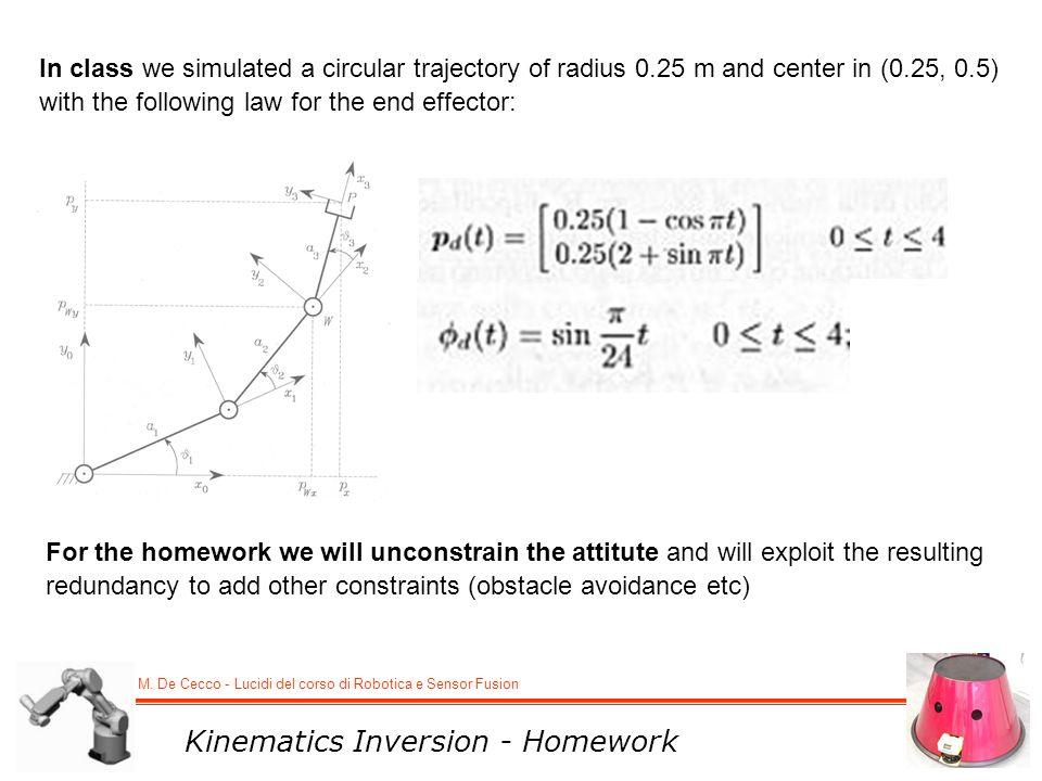M. De Cecco - Lucidi del corso di Robotica e Sensor Fusion Kinematics Inversion - Homework In class we simulated a circular trajectory of radius 0.25
