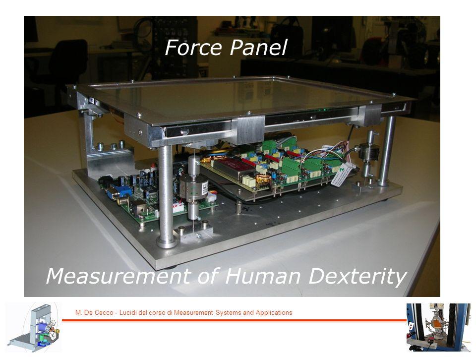 M. De Cecco - Lucidi del corso di Measurement Systems and Applications Force Panel Measurement of Human Dexterity