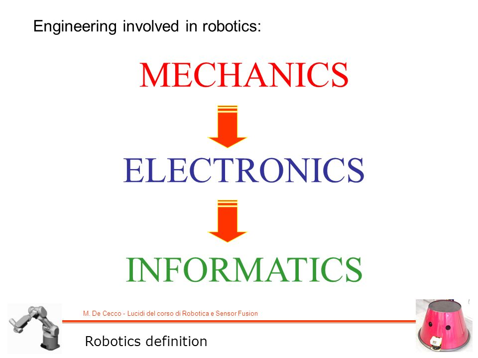 M. De Cecco - Lucidi del corso di Robotica e Sensor Fusion Engineering involved in robotics: MECHANICS ELECTRONICS INFORMATICS Robotics definition