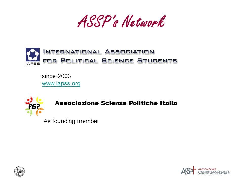 ASSPs Network Associazione Scienze Politiche Italia since 2003 www.iapss.org As founding member