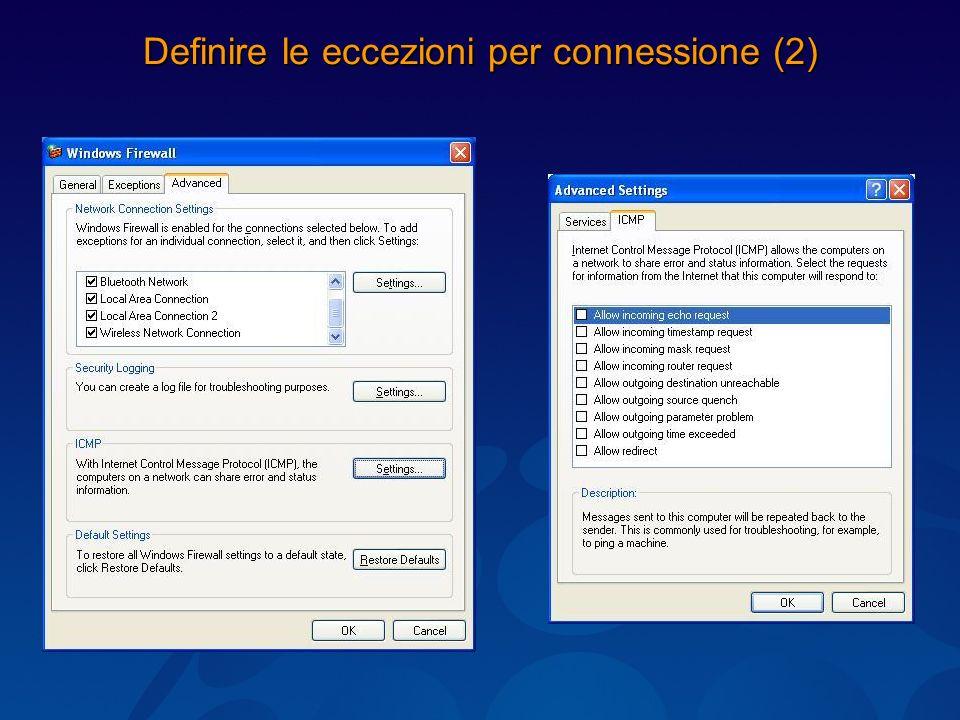 Definire le eccezioni per connessione (2)