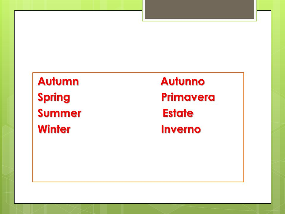 Autumn Autunno Spring Primavera Summer Estate Winter Inverno