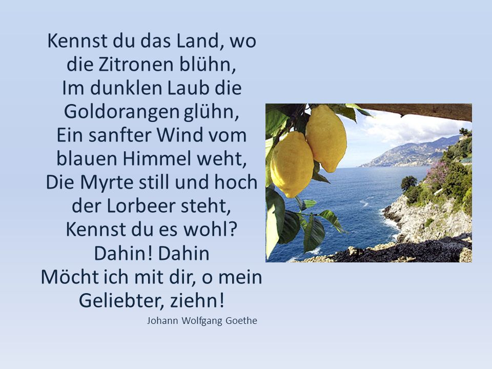 Kennst du das Land, wo die Zitronen blühn, Im dunklen Laub die Goldorangen glühn, Ein sanfter Wind vom blauen Himmel weht, Die Myrte still und hoch de