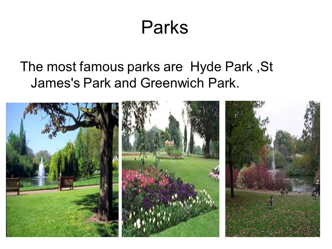 Parks The most famous parks are Hyde Park,St James's Park and Greenwich Park.