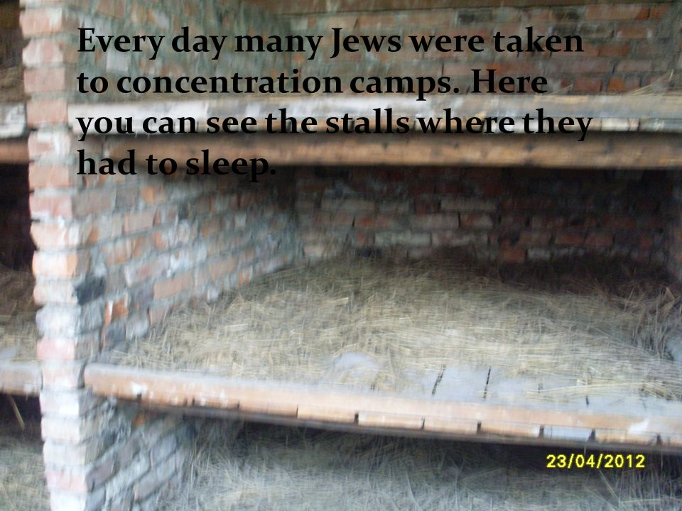 Every day many Jews were taken to concentration camps. Every day many Jews were taken to concentration camps. Here you can see the stalls where they h