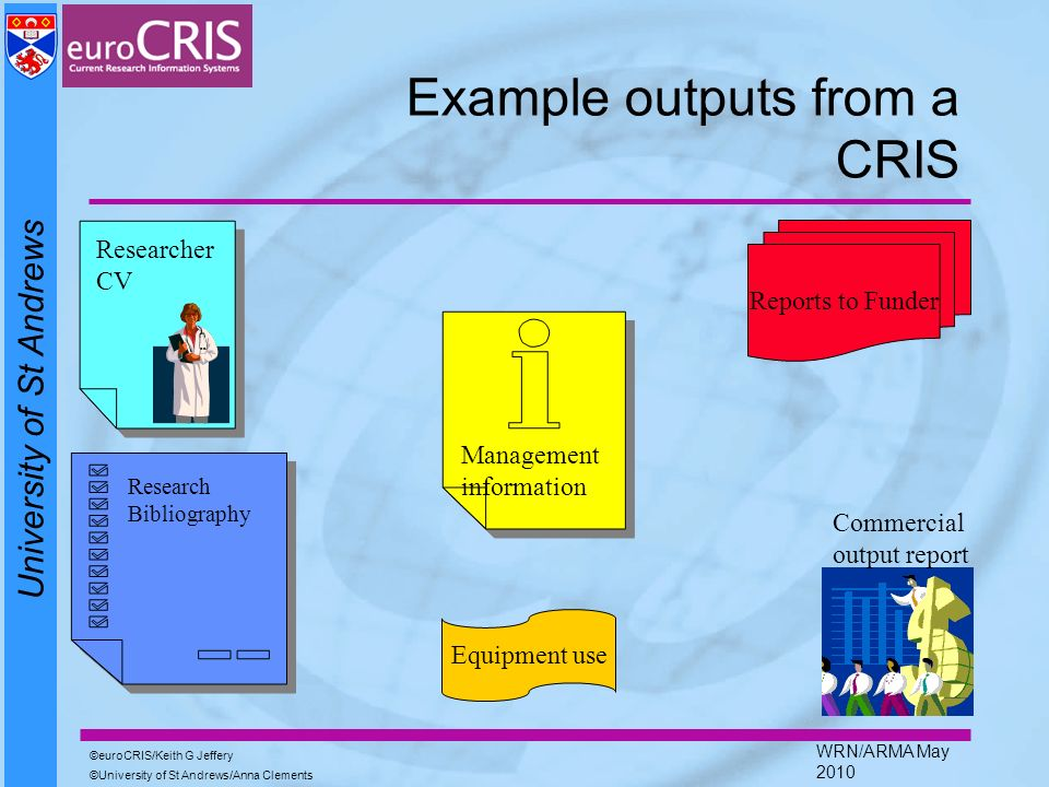 University of St Andrews euroCRIS/Keith G Jeffery University of St Andrews/Anna Clements WRN/ARMA May 2010 Example outputs from a CRIS Researcher CV R