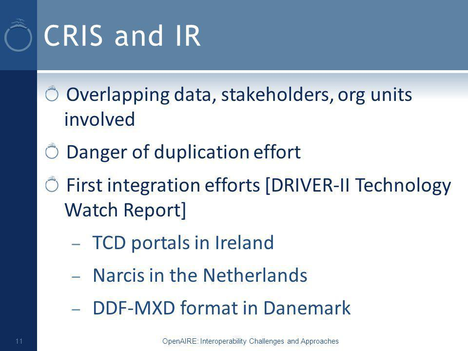 CRIS and IR Overlapping data, stakeholders, org units involved Danger of duplication effort First integration efforts [DRIVER-II Technology Watch Report] – TCD portals in Ireland – Narcis in the Netherlands – DDF-MXD format in Danemark OpenAIRE: Interoperability Challenges and Approaches 11