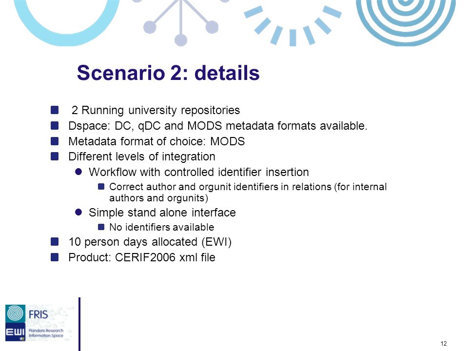 12 2 Running university repositories Dspace: DC, qDC and MODS metadata formats available.