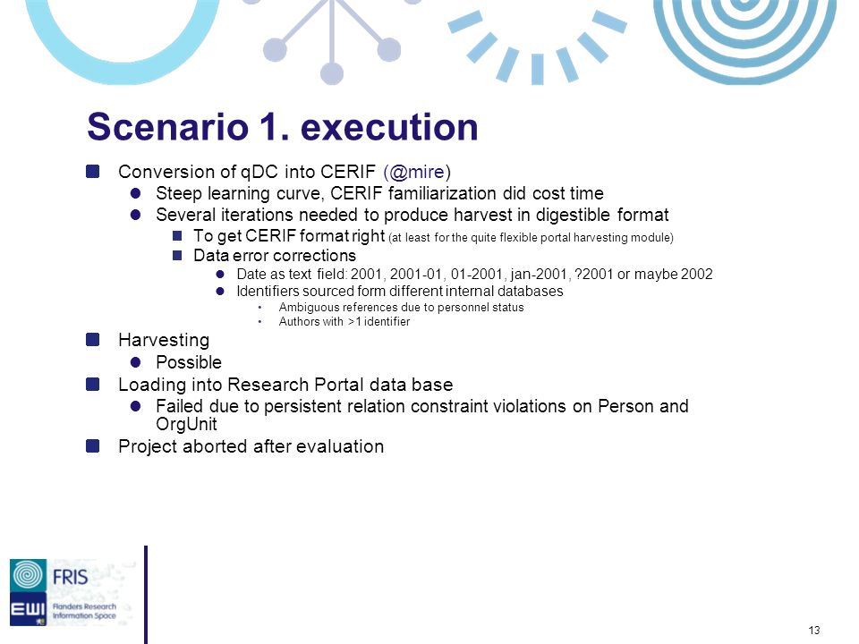 13 Scenario 1. execution Conversion of qDC into CERIF (@mire) Steep learning curve, CERIF familiarization did cost time Several iterations needed to p