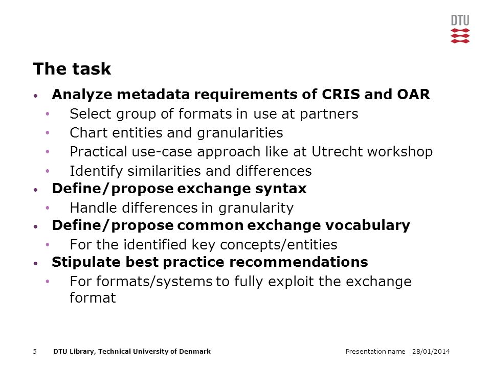 28/01/2014Presentation name5DTU Library, Technical University of Denmark The task Analyze metadata requirements of CRIS and OAR Select group of formats in use at partners Chart entities and granularities Practical use-case approach like at Utrecht workshop Identify similarities and differences Define/propose exchange syntax Handle differences in granularity Define/propose common exchange vocabulary For the identified key concepts/entities Stipulate best practice recommendations For formats/systems to fully exploit the exchange format