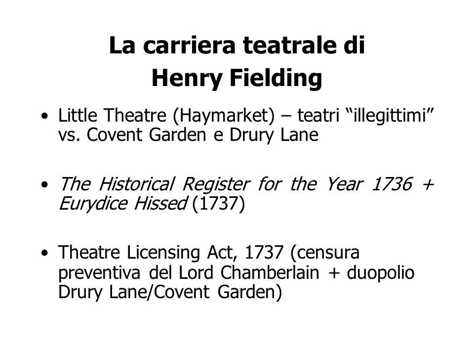 La carriera teatrale di Henry Fielding Little Theatre (Haymarket) – teatri illegittimi vs.