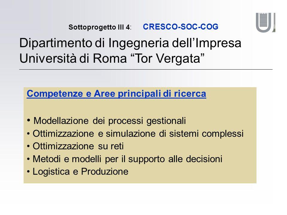 Sottoprogetto III 4: CRESCO-SOC-COG Dipartimento di Ingegneria dellImpresa Università di Roma Tor Vergata Competenze e Aree principali di ricerca Modellazione dei processi gestionali Ottimizzazione e simulazione di sistemi complessi Ottimizzazione su reti Metodi e modelli per il supporto alle decisioni Logistica e Produzione
