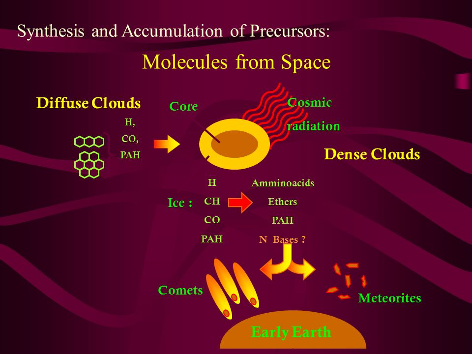 Cosmic radiation Molecules from Space Synthesis and Accumulation of Precursors: Amminoacids Ethers PAH N Bases ? H, CO, PAH Diffuse Clouds Ice : Core