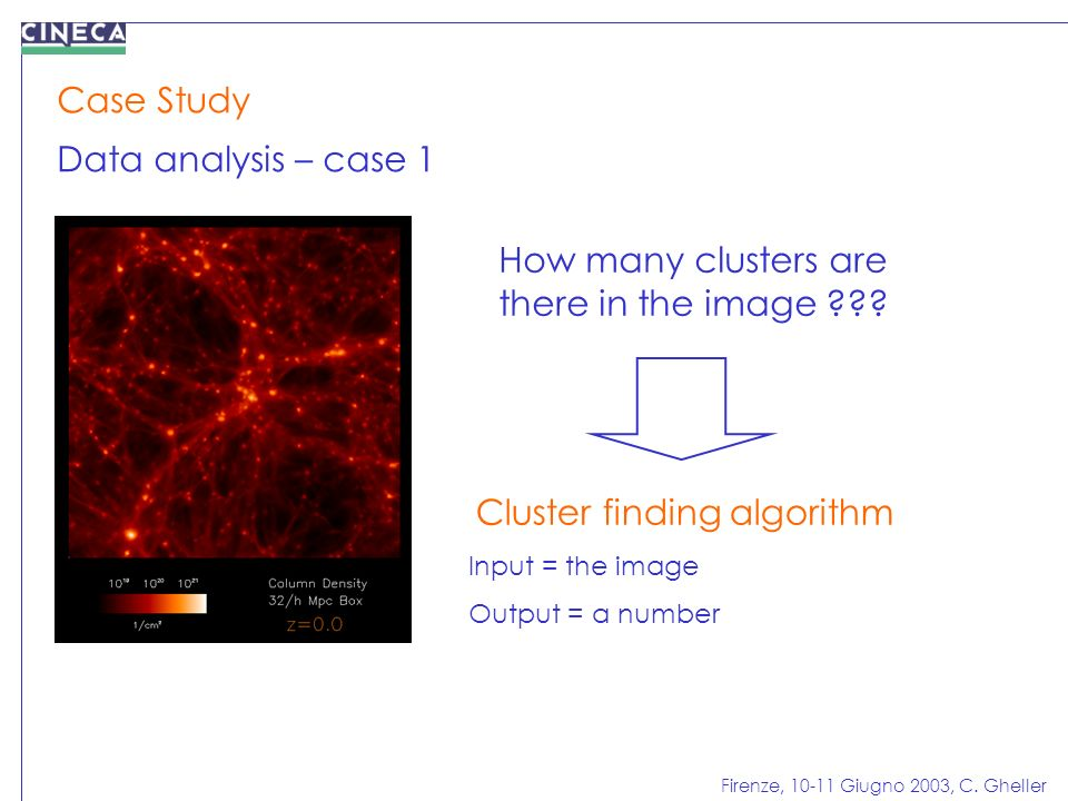 Firenze, 10-11 Giugno 2003, C. Gheller Case Study Data analysis – case 1 How many clusters are there in the image ??? Cluster finding algorithm Input