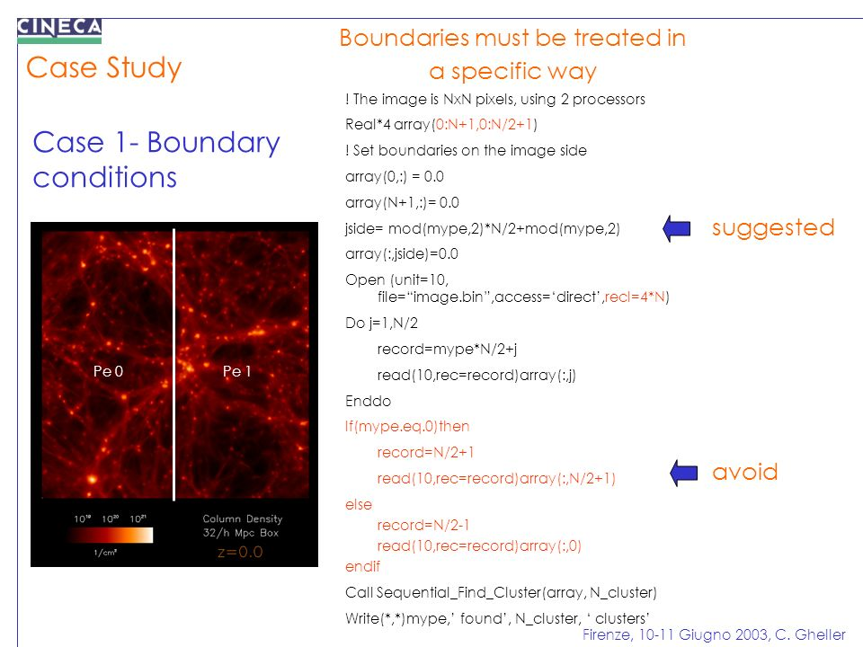 Firenze, 10-11 Giugno 2003, C. Gheller Case Study Case 1- Boundary conditions Boundaries must be treated in a specific way Pe 0Pe 1 ! The image is NxN