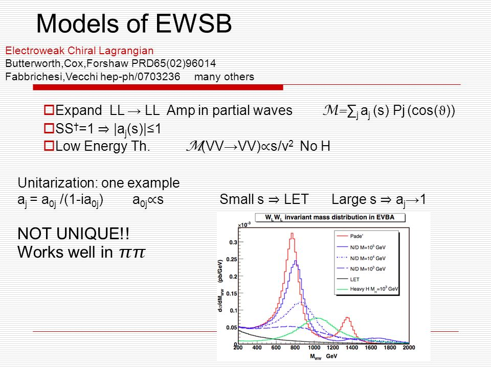 Models of EWSB Electroweak Chiral Lagrangian Butterworth,Cox,Forshaw PRD65(02)96014 Fabbrichesi,Vecchi hep-ph/ many others Expand LL LL Amp in partial waves M= j a j (s) Pj (cos( ϑ )) SS =1 |a j (s)|1 Low Energy Th.
