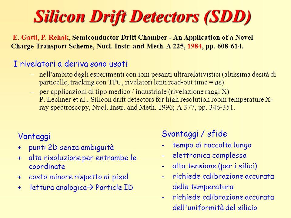 Silicon Drift Detectors (SDD) I rivelatori a deriva sono usati –nell'ambito degli esperimenti con ioni pesanti ultrarelativistici (altissima desità di