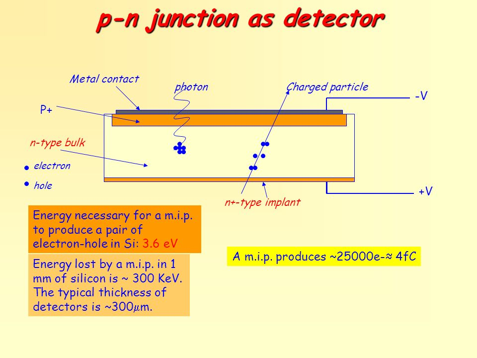 p-n junction as detector Metal contact photonCharged particle n+-type implant n-type bulk -V +V electron hole P+ Energy lost by a m.i.p. in 1 mm of si