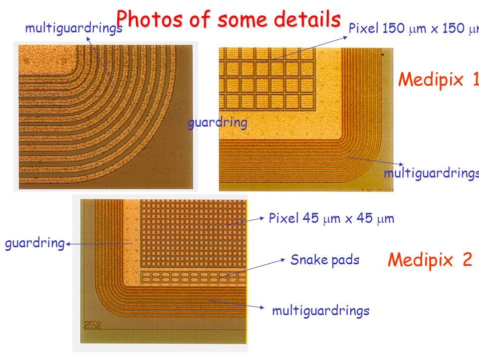 Photos of some details Medipix 1 Medipix 2 Pixel 150 m x 150 m Pixel 45 m x 45 m guardring multiguardrings Snake pads
