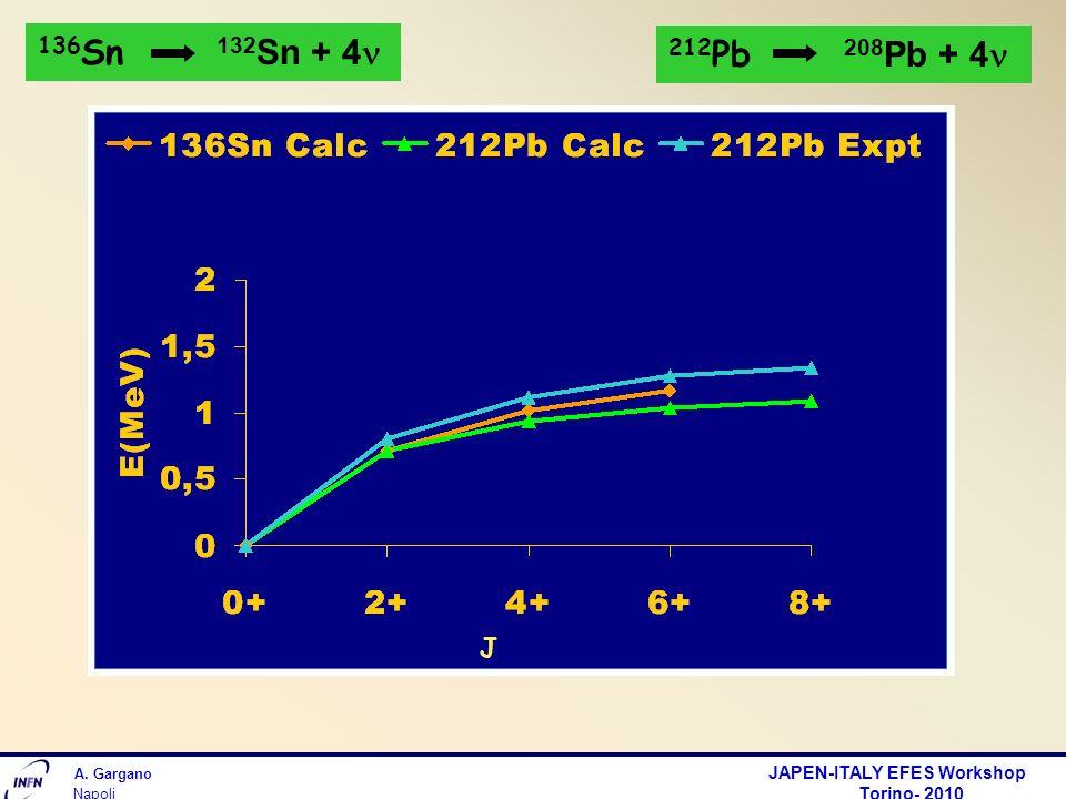 A. Gargano JAPEN-ITALY EFES Workshop Torino- 2010 Napoli J 136 Sn 132 Sn + 4 212 Pb 208 Pb + 4
