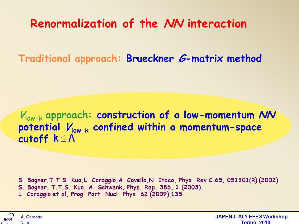 A. Gargano JAPEN-ITALY EFES Workshop Torino- 2010 Napoli Renormalization of the NN interaction Traditional approach: Brueckner G-matrix method V low-k