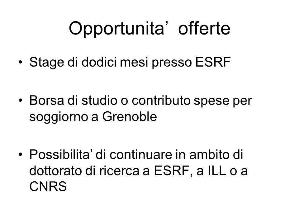 Opportunita offerte Stage di dodici mesi presso ESRF Borsa di studio o contributo spese per soggiorno a Grenoble Possibilita di continuare in ambito d