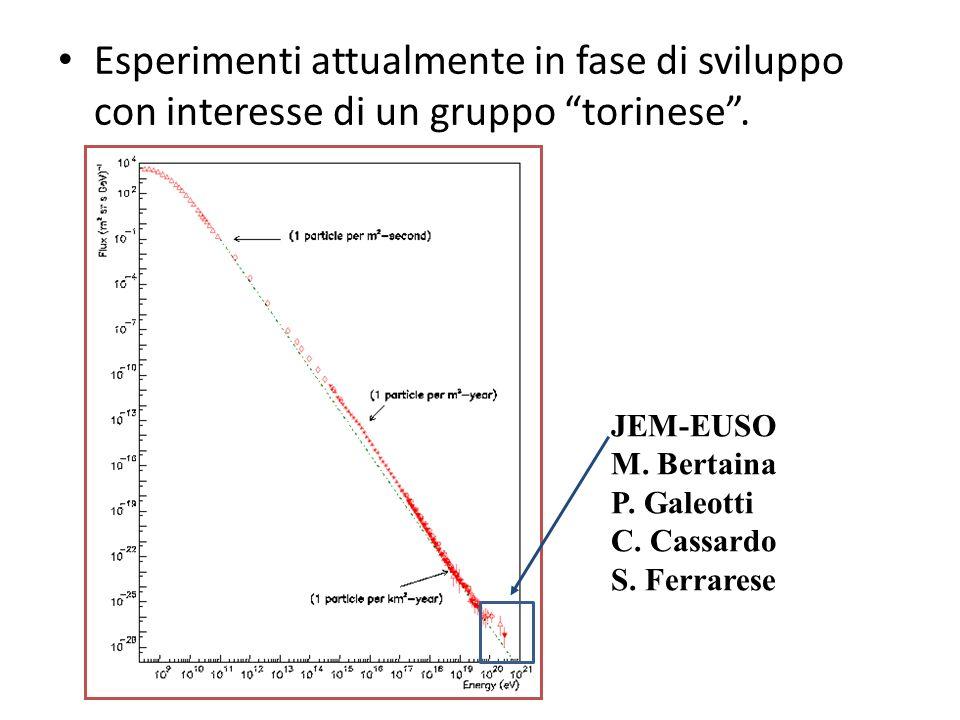Esperimenti attualmente in fase di sviluppo con interesse di un gruppo torinese.