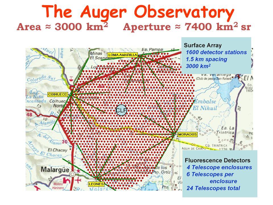 The Auger Observatory Area 3000 km 2 Aperture 7400 km 2 sr