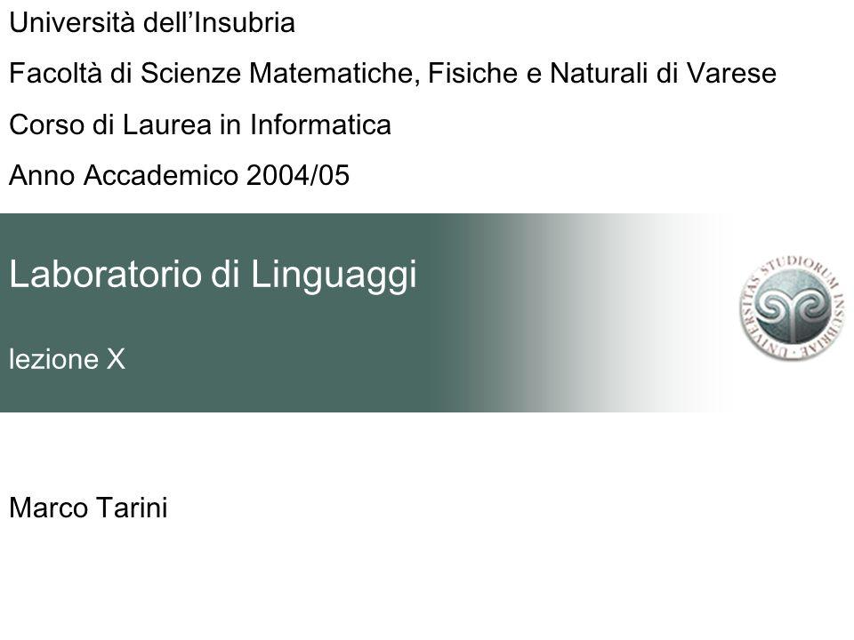 Laboratorio di Linguaggi lezione X Marco Tarini Università dellInsubria Facoltà di Scienze Matematiche, Fisiche e Naturali di Varese Corso di Laurea in Informatica Anno Accademico 2004/05