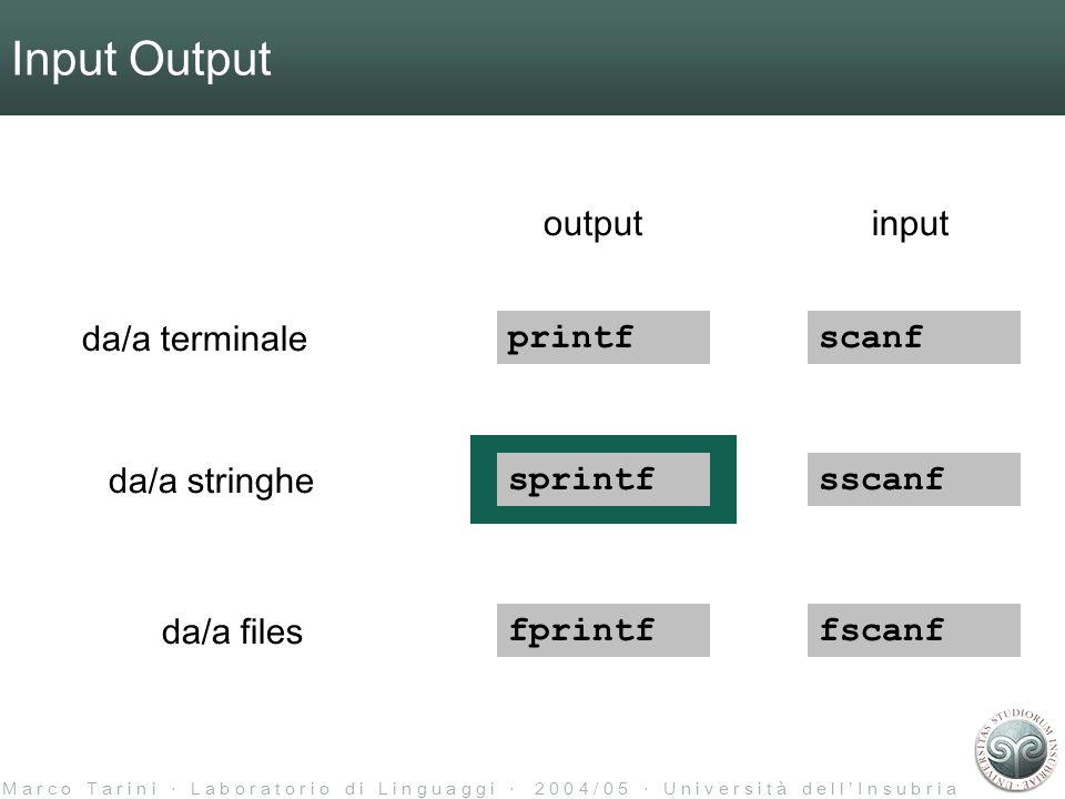 M a r c o T a r i n i L a b o r a t o r i o d i L i n g u a g g i 2 0 0 4 / 0 5 U n i v e r s i t à d e l l I n s u b r i a Input Output printf sprintf fprintf scanf sscanf fscanf da/a terminale da/a stringhe da/a files inputoutput