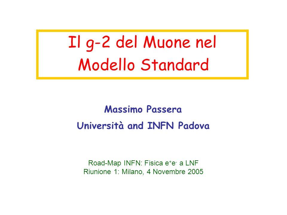 Il g-2 del Muone nel Modello Standard Massimo Passera Università and INFN Padova Road-Map INFN: Fisica e + e - a LNF Riunione 1: Milano, 4 Novembre 2005