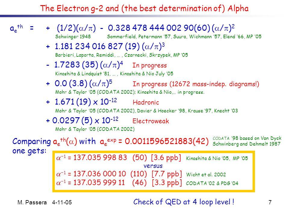 M. Passera 4-11-057 a e th = + (1/2)( / ) - 0.328 478 444 002 90(60) ( / ) 2 Schwinger 1948 Sommerfield, Petermann 57, Suura, Wichmann 57, Elend 66, M