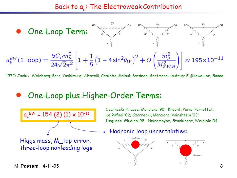 M. Passera 4-11-058 Back to a : The Electroweak Contribution One-Loop Term: 1972: Jackiv, Weinberg; Bars, Yoshimura; Altarelli, Cabibbo, Maiani; Barde