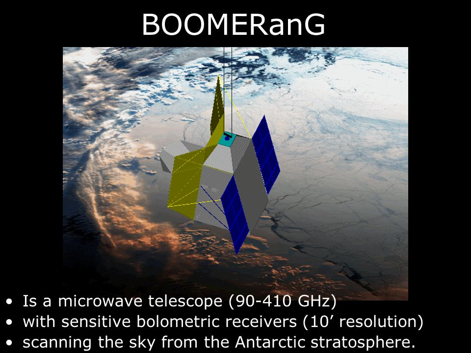 BOOMERanG Is a microwave telescope (90-410 GHz) with sensitive bolometric receivers (10 resolution) scanning the sky from the Antarctic stratosphere.