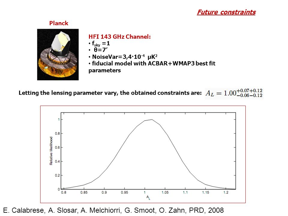 Planck Letting the lensing parameter vary, the obtained constraints are: Future constraints HFI 143 GHz Channel: f sky =1 θ=7 NoiseVar=3,4·10 -4 μK 2