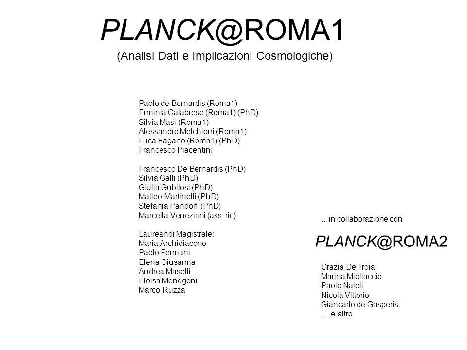 PLANCK@ROMA1 Paolo de Bernardis (Roma1) Erminia Calabrese (Roma1) (PhD) Silvia Masi (Roma1) Alessandro Melchiorri (Roma1) Luca Pagano (Roma1) (PhD) Fr