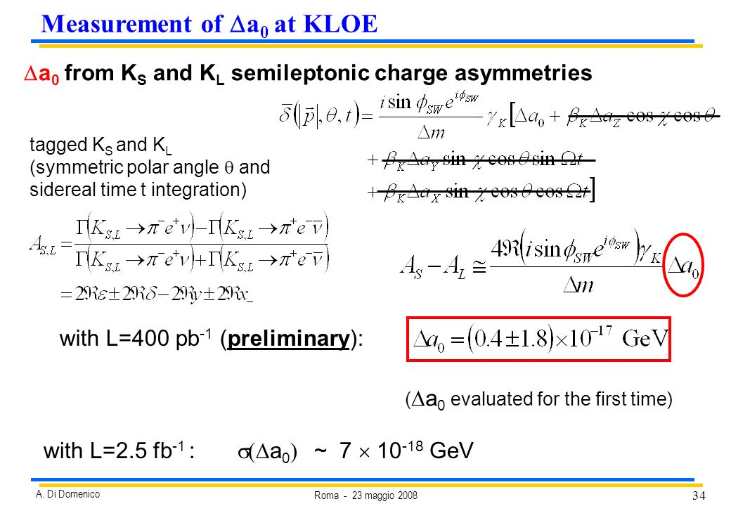 34 Roma - 23 maggio 2008 A. Di Domenico a 0 from K S and K L semileptonic charge asymmetries tagged K S and K L (symmetric polar angle and sidereal ti