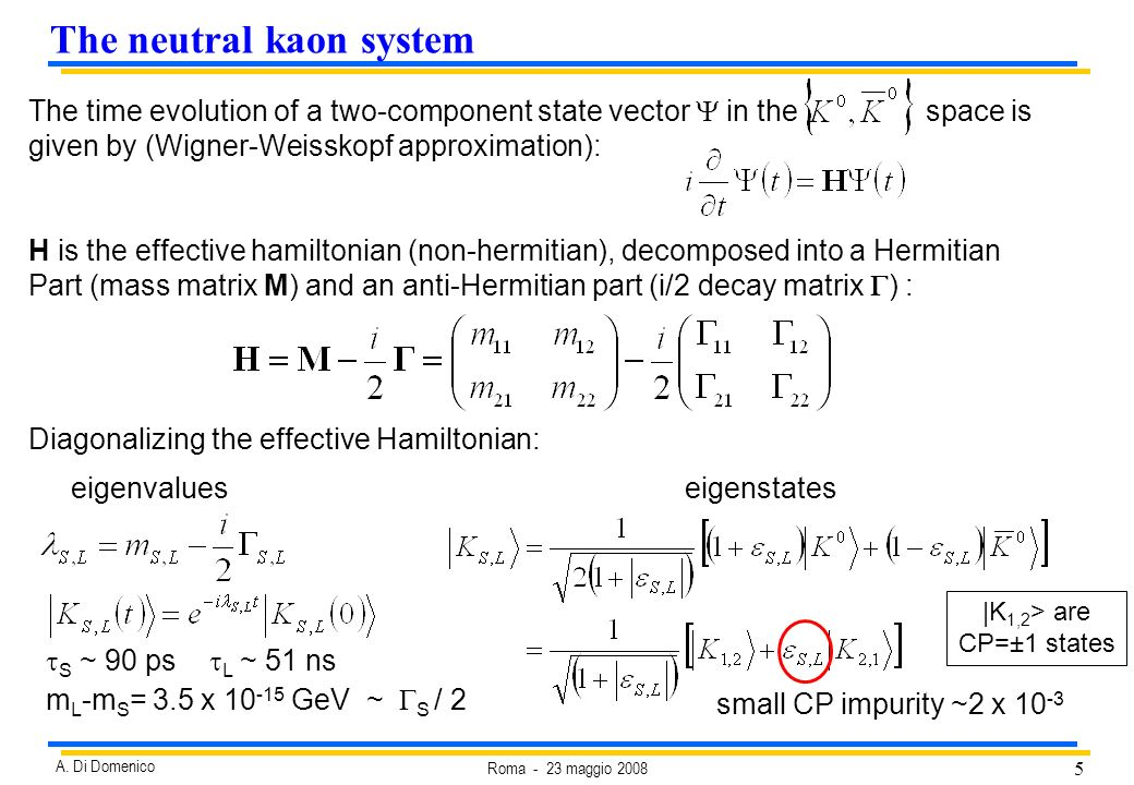 5 Roma - 23 maggio 2008 A. Di Domenico The time evolution of a two-component state vector in the space is given by (Wigner-Weisskopf approximation): H