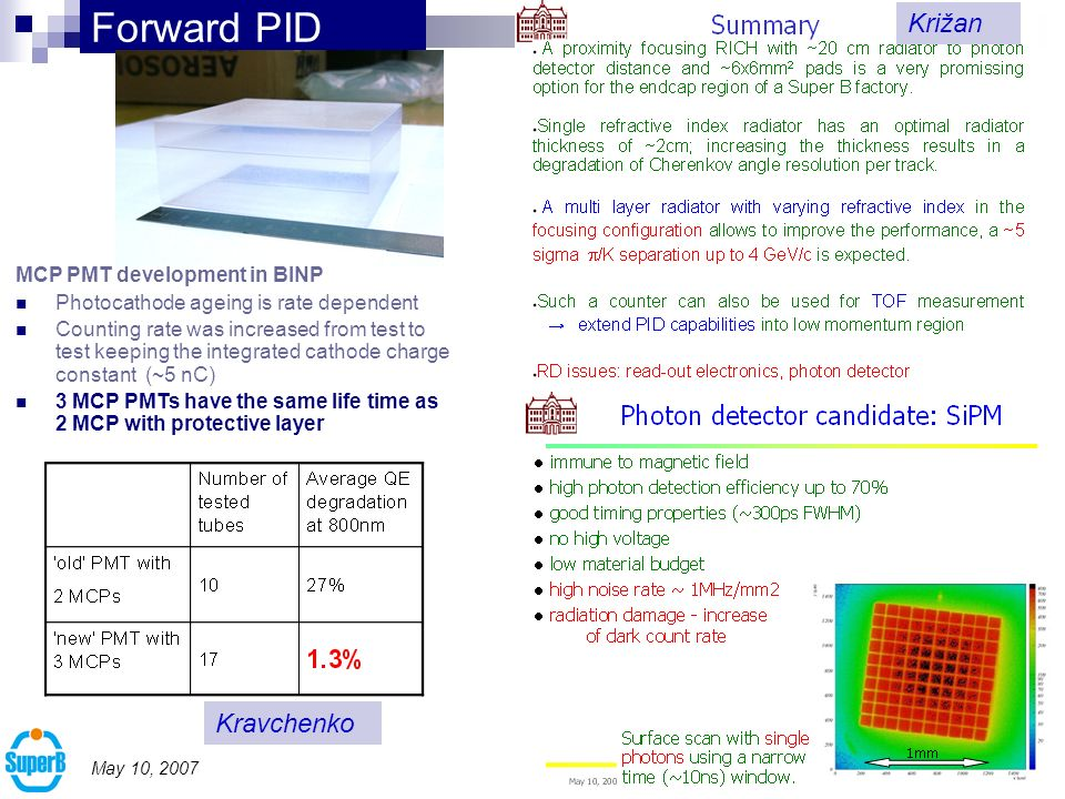 10 May 10, 2007 Forward PID MCP PMT development in BINP Photocathode ageing is rate dependent Counting rate was increased from test to test keeping the integrated cathode charge constant ( ~5 nC) 3 MCP PMTs have the same life time as 2 MCP with protective layer Kravchenko Križan