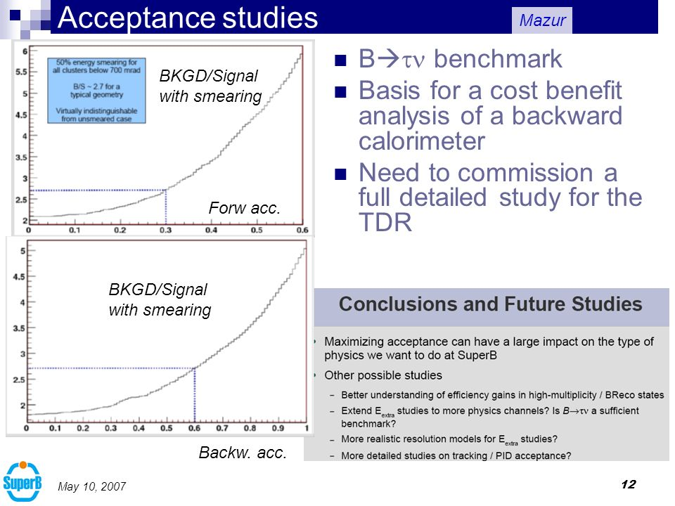 12 May 10, 2007 Acceptance studies B benchmark Basis for a cost benefit analysis of a backward calorimeter Need to commission a full detailed study for the TDR Forw acc.