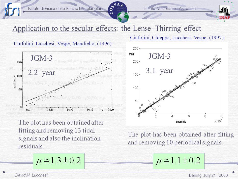 Istituto Nazionale di AstrofisicaIstituto di Fisica dello Spazio Interplanetario Beijing, July 21 - 2006 David M. Lucchesi JGM-3 2.2–year JGM-3 3.1–ye