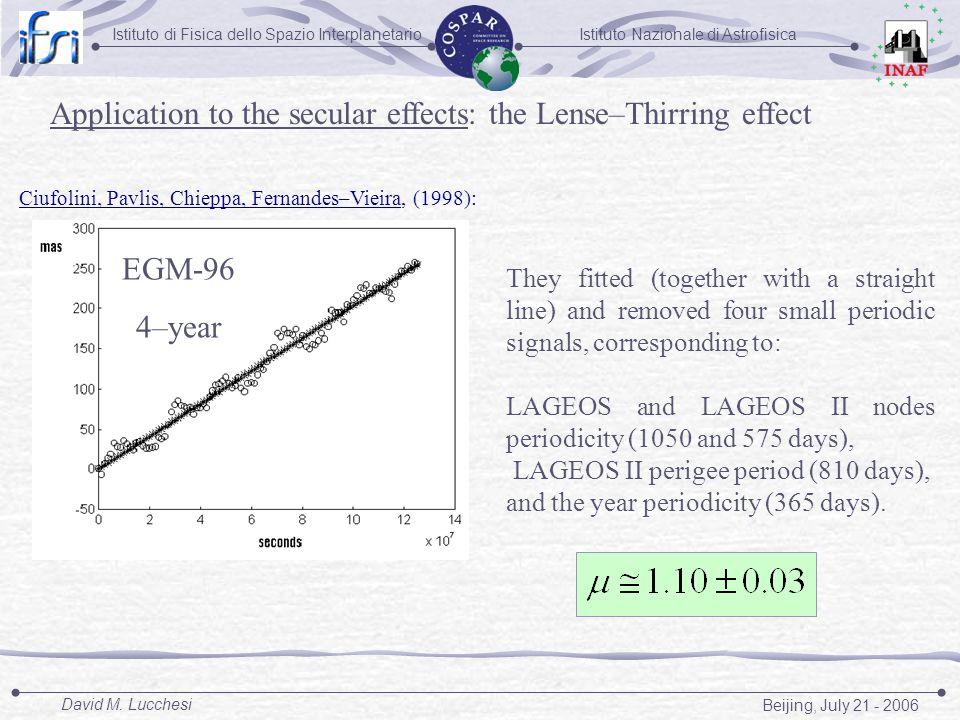 Istituto Nazionale di AstrofisicaIstituto di Fisica dello Spazio Interplanetario Beijing, July 21 - 2006 David M. Lucchesi Application to the secular