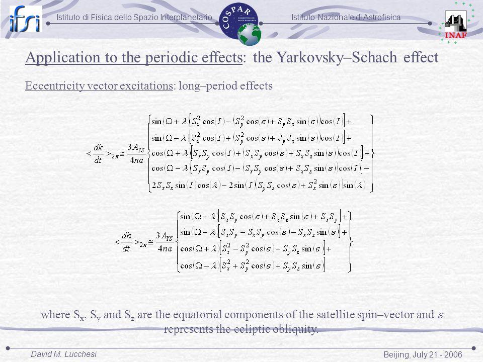 Istituto Nazionale di AstrofisicaIstituto di Fisica dello Spazio Interplanetario Beijing, July 21 - 2006 David M. Lucchesi Application to the periodic