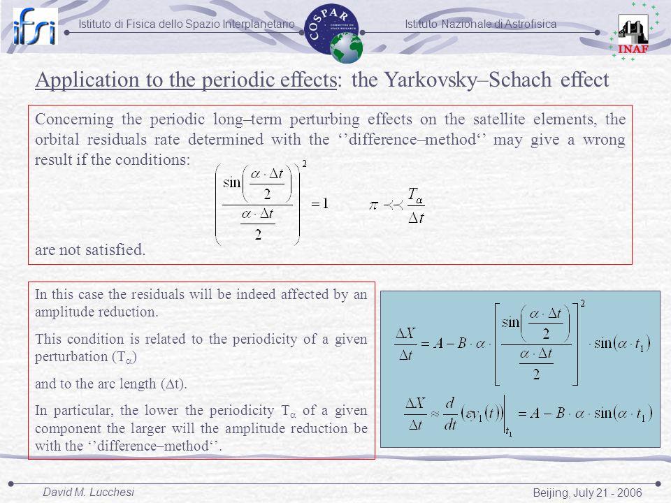 Istituto Nazionale di AstrofisicaIstituto di Fisica dello Spazio Interplanetario Beijing, July 21 - 2006 David M. Lucchesi Concerning the periodic lon