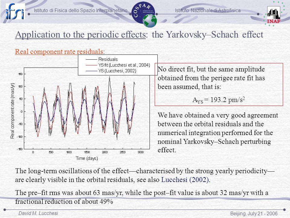 Istituto Nazionale di AstrofisicaIstituto di Fisica dello Spazio Interplanetario Beijing, July 21 - 2006 David M. Lucchesi Real component rate residua