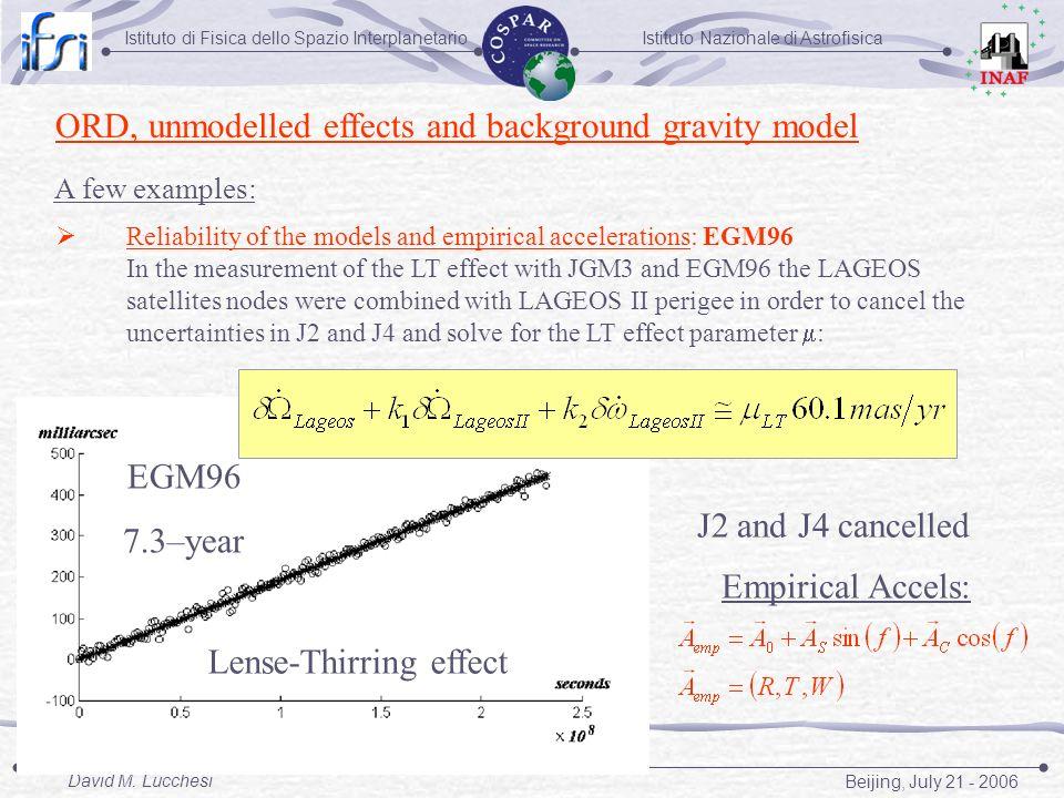 Istituto Nazionale di AstrofisicaIstituto di Fisica dello Spazio Interplanetario Beijing, July 21 - 2006 David M. Lucchesi ORD, unmodelled effects and