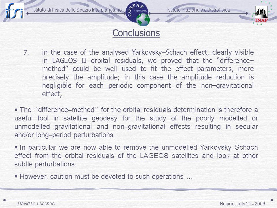 Istituto Nazionale di AstrofisicaIstituto di Fisica dello Spazio Interplanetario Beijing, July 21 - 2006 David M. Lucchesi Conclusions 7. in the case