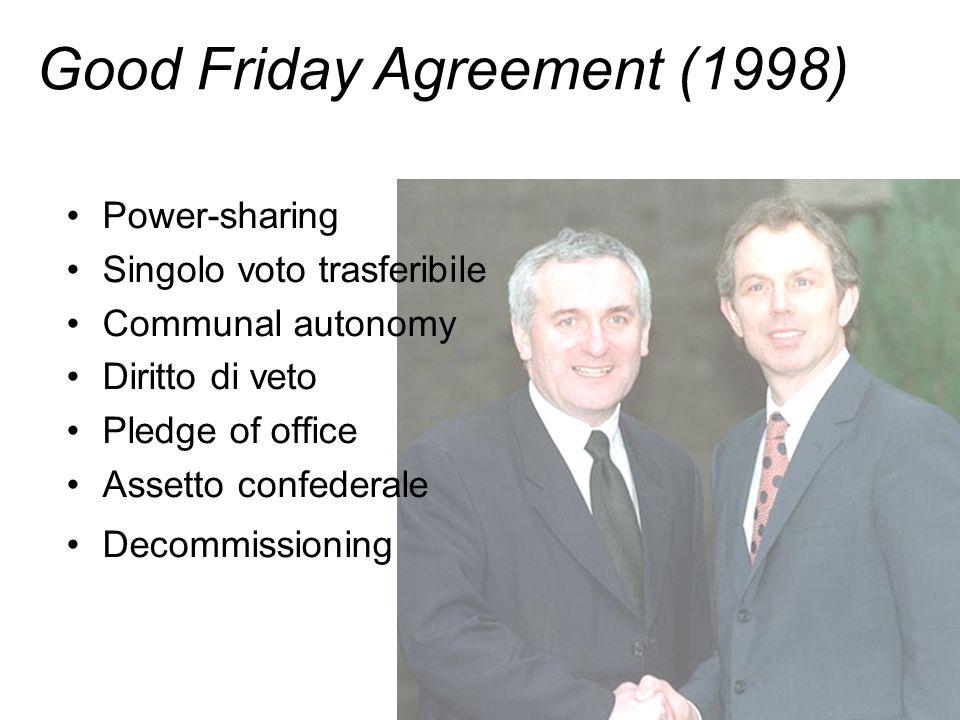 Power-sharing Singolo voto trasferibile Communal autonomy Diritto di veto Pledge of office Assetto confederale Decommissioning Good Friday Agreement (1998)